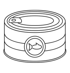 fish tin can icon outline style vector image