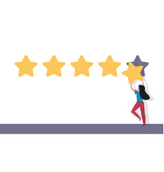 five star rating flat man holding 5 stars rating vector image