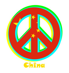 Flag of china as a sign of pacifism vector