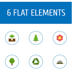 Flat icons conservation sprout landscape vector
