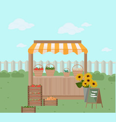 fresh grocery on a farm shelf store vector image