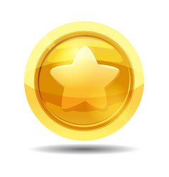 Game coin with star game interface gold vector