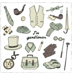 Gentlemans vintage accessories doodle set vector