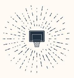 Grey basketball backboard icon isolated on beige vector