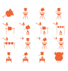 Grilled chicken icons set vector