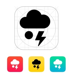 Hail with lightning weather icon vector image