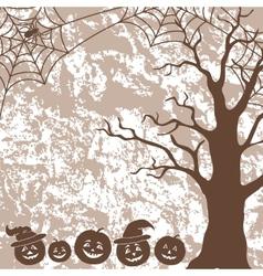 Halloween landscape pumpkins tree and spider vector image