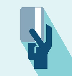 Hand and card icon vector