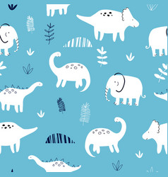 hand drawing animals pattern vector image