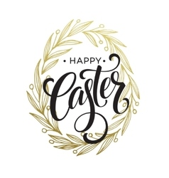 hand drawn easter greeting card golden branch vector image