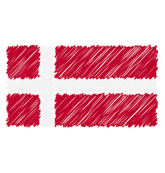 Hand drawn national flag of denmark isolated on a vector