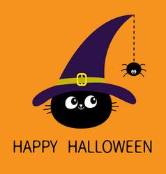 Happy halloween black cat head face silhouette vector