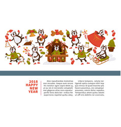 Happy new year 2018 poster with husky dog vector