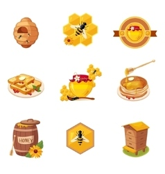 Honey And Related Food Label Set Of vector