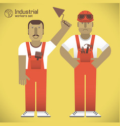 industrial workers set vector image