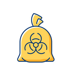 Infectious waste bag rgb color icon vector