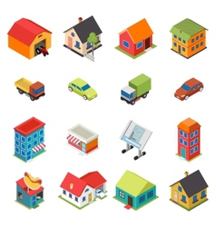 Isometric House Real Estate Car Icons Retro Flat vector image