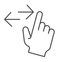 Left and right swipe thin line icon drag side vector