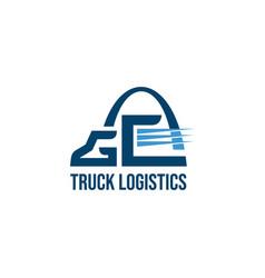 letter g truck logo business symbols emblems vector image