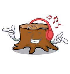 Listening music tree stump mascot cartoon vector
