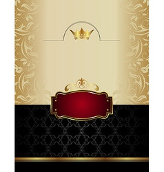 Luxury gold wine label with emblem vector