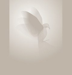 magic dove made with lines on misty background vector image