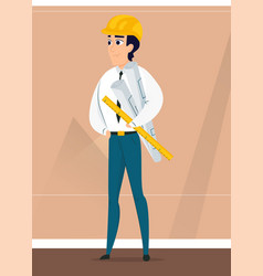 male architect with design project in hand vector image