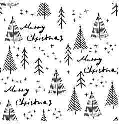 merry christmas and christmas tree seamless vector image