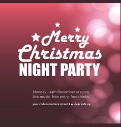 merry christmas night party glowing background vector image