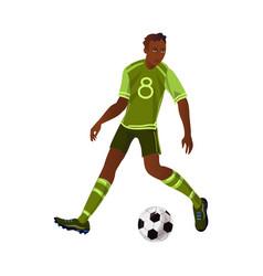Modern afro american soccer player make a dribble vector