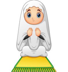 Muslim girl sitting on the prayer rug while prayin vector