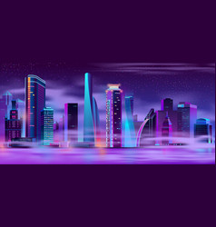 night city in fog urban background vector image
