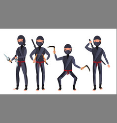 ninja set samurai characters attacking vector image