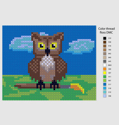 owl diagram for embroidery with a cross can be vector image