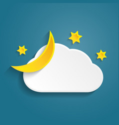 paper half moon cloud and stars in the night vector image