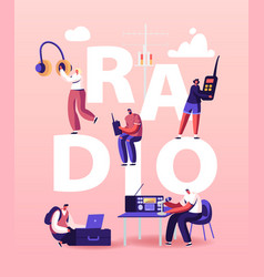 People and radio concept male and female radio dj vector