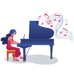 Piano girl on white vector
