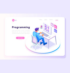 Programming landing page template vector