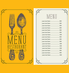 restaurant menu with price list realistic fork vector image