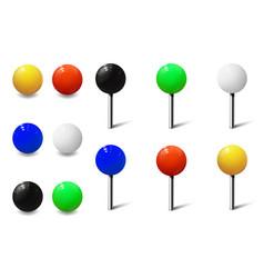 Round pins and metal map push pins vector