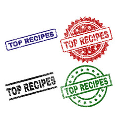 scratched textured top recipes stamp seals vector image