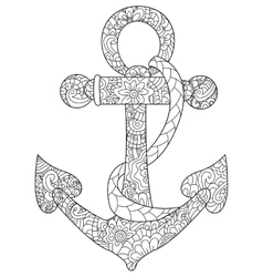 Sea anchor coloring for adults vector