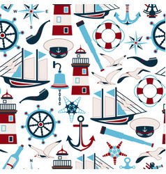 seamless pattern nautical design elements vector image