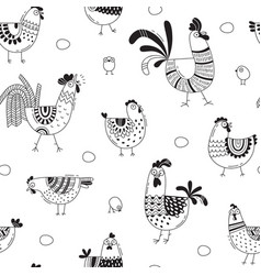 Seamless pattern with chickens roosters eggs in vector