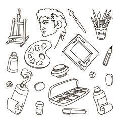 Set artist drawing art vector