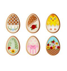 set easter eggs gingerbread cookies vector image