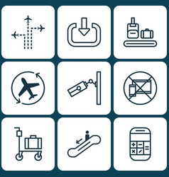 Set of 9 traveling icons includes flight path vector