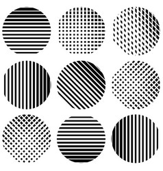 Set of half-tone lines in circles straight vector