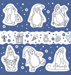 set of penguin and christmas presents icons vector image