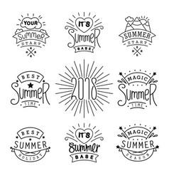 Set of summer labels design linear style emblem vector